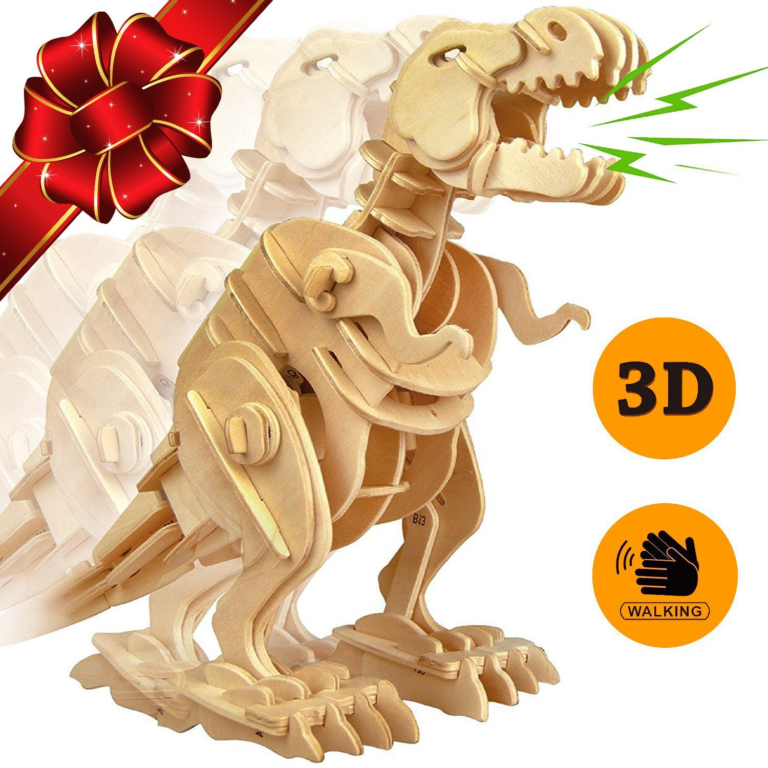 Trex Dinosaur 3D Puzzle Walking Wooden Robot Toy Sound Activated